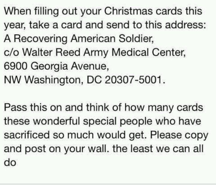 Can You Address Christmas Cards To Recovering American Soldier