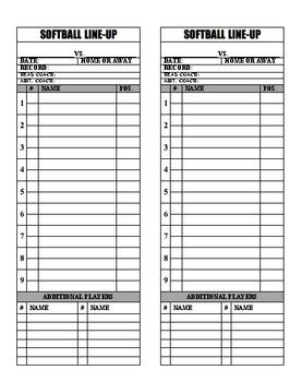 Baseball Softball Line Up Roster Card Pdf For Coaches Dugout Ump Softball Baseball Softball Baseball Lineup