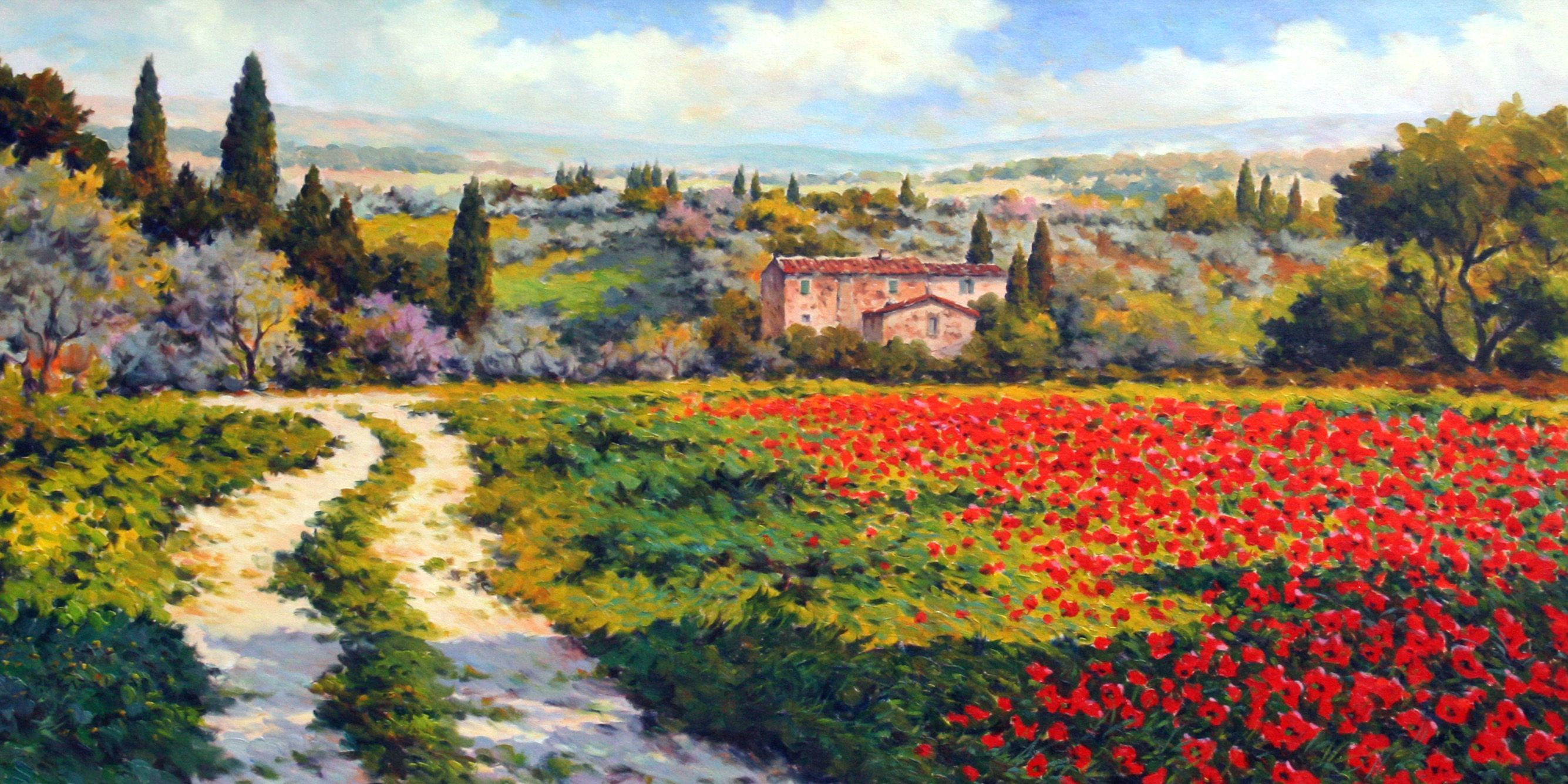 Paolo Bigazzi Country Lane Casole D Elsa Jpg 2670 1335 Impressionist Paintings Art Painting
