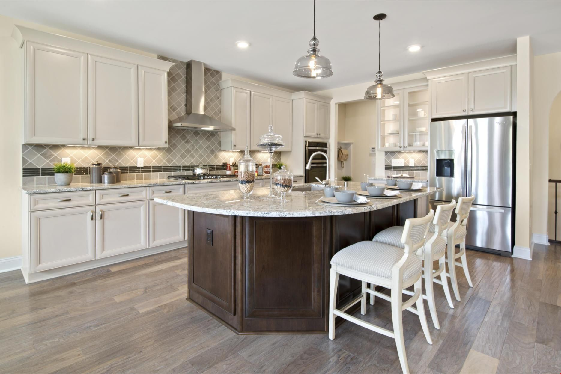Light And Dark Cabinets Pair Beautifully In This Kitchen The Hialeah Plan A New Home By Drees Homes A Log Home Kitchens Luxury Kitchen Design Luxury Kitchens