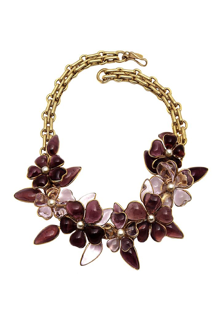 Vintage luxurious Chanel necklace with lilac flowers made of molten Gripoix glass with mother-of-pearl centerpieces. Adjustable wear.