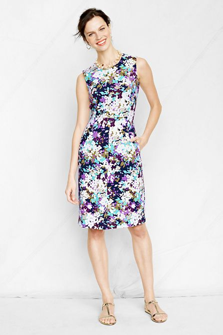 I have this one and I love it..........Women's Sleeveless Pattern Ponté Welt Pocket Dress from Lands' End