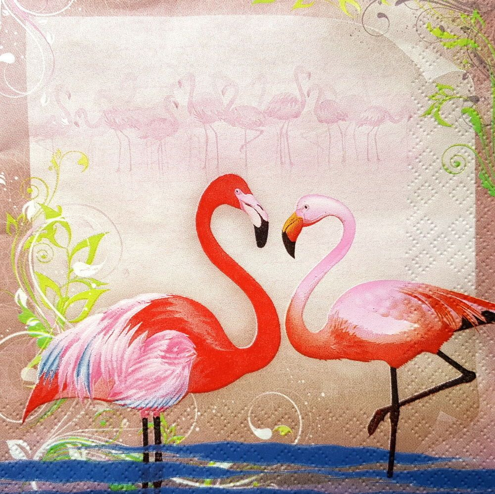4 Lunch Paper Napkins for Decoupage Craft Vintage Party  Tropical Pink Flamingo