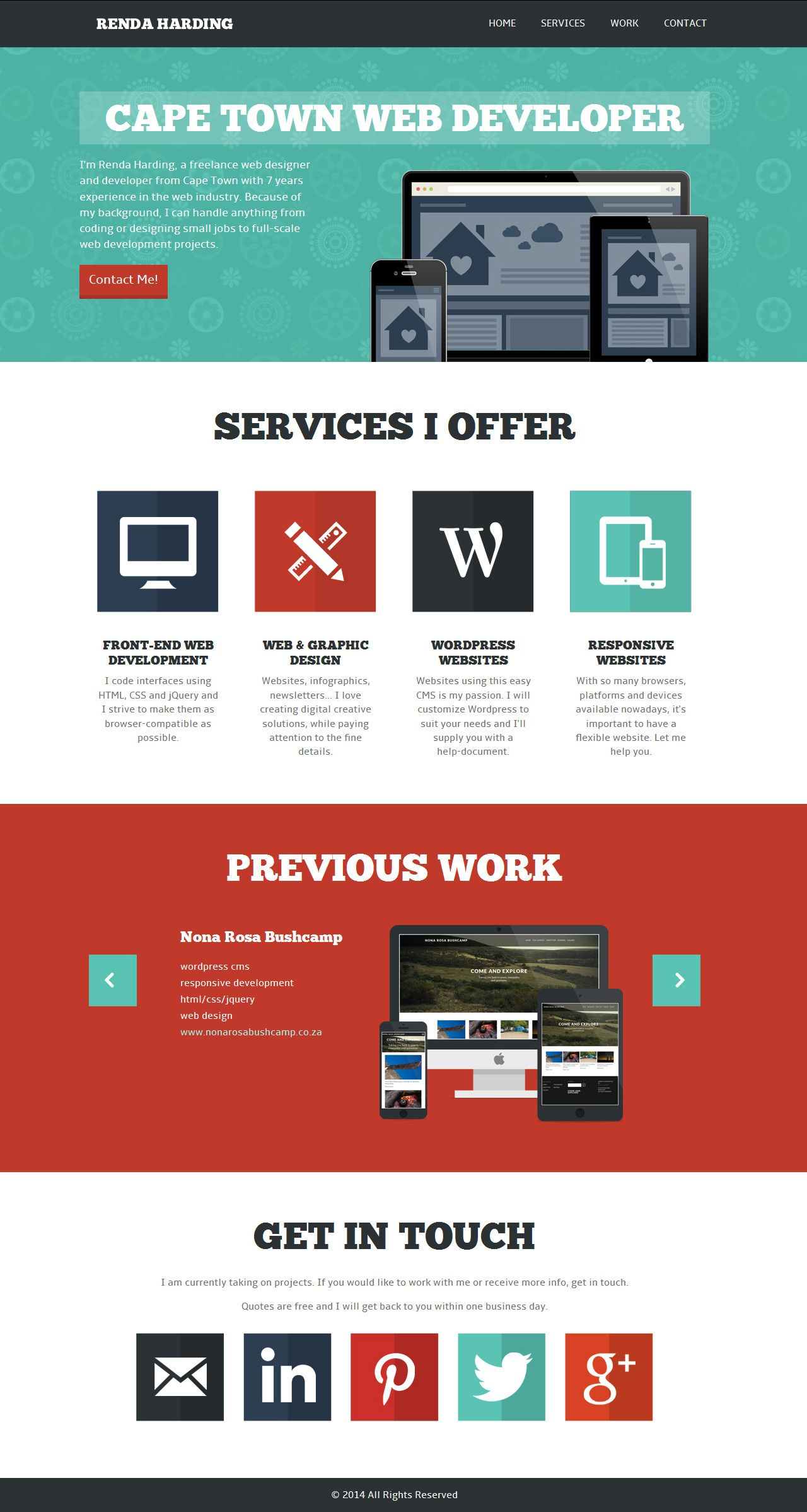 Flat Designed One Page Portfolio For Cape Town Based Web Designer Renda Harding There Are Some Obvious Alignment Is Web Design One Page Website Website Design