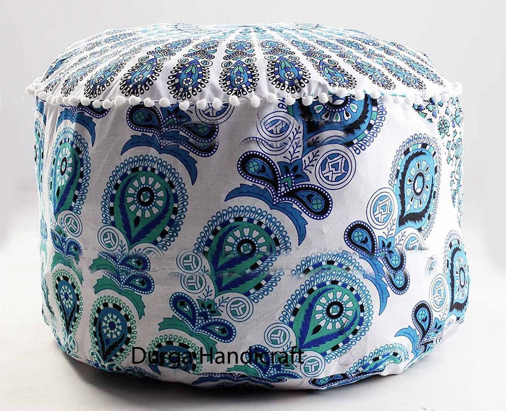 Home, Furniture & Diy Ottomans & Footstools Special Section Indian Tie Dye Mandala Pouf Ottoman Cover Round Floor Footstool Ethnic Pouffe