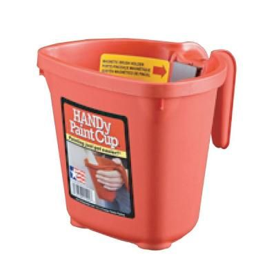 HANDy Paint Pail HANDy 16 oz. Red Plastic Paint Cup with ...