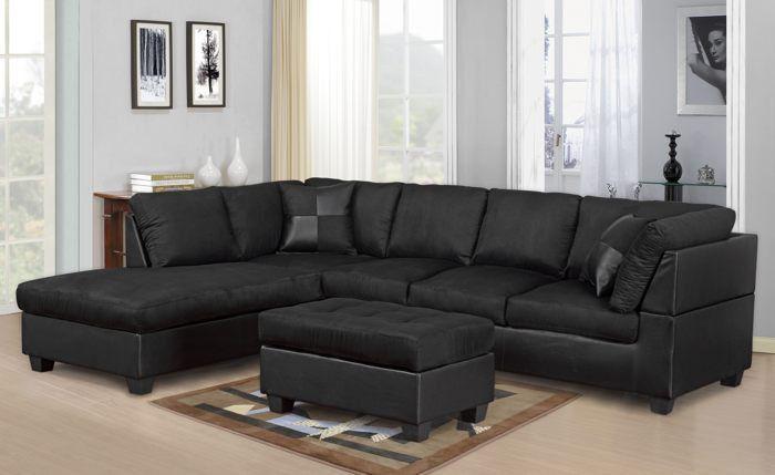 Description Sectional Sofa Chaise And Ottoman Color Black