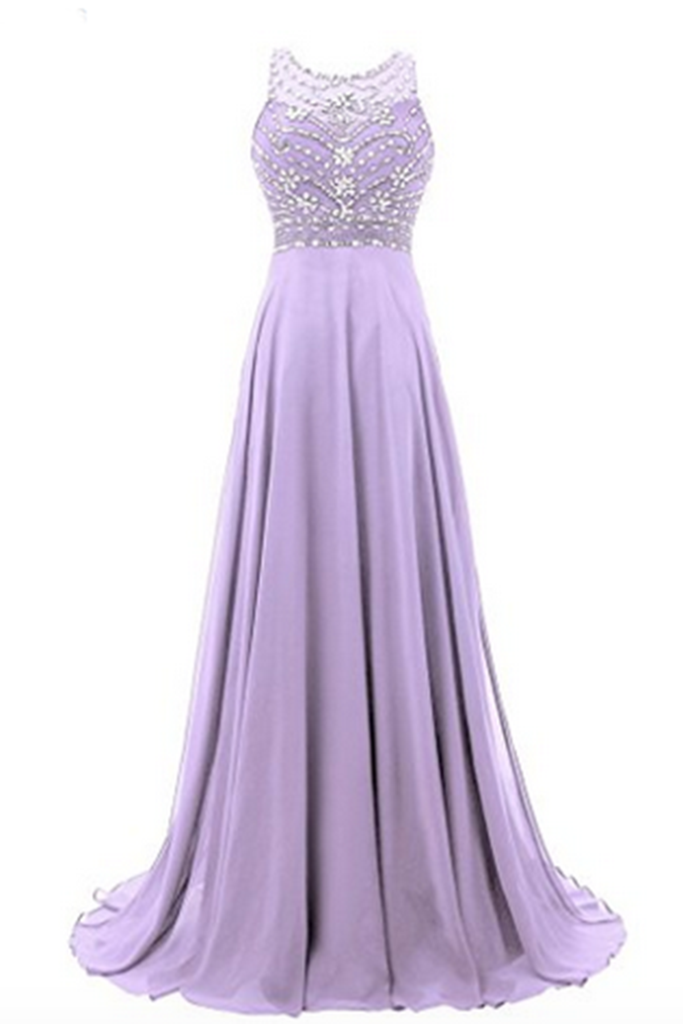 Lavander chiffon round neck sequins beaded A-line long prom dresses ...