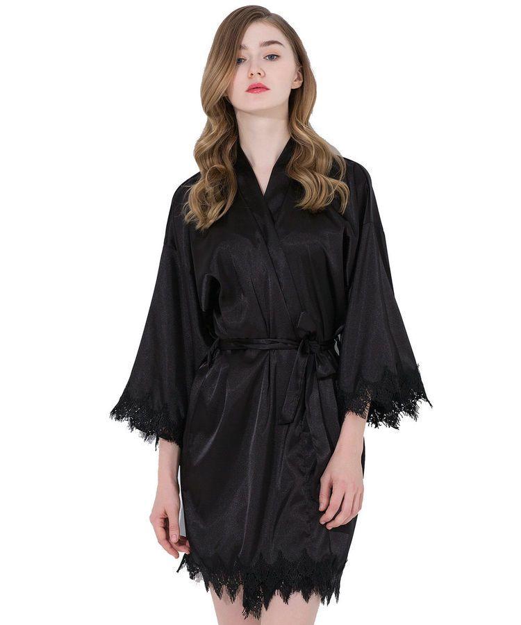 41e82e4f62a4 Satin lace Robe with trim Gown Bridal Wedding Bride Bridesmaid Kimono robe  US#trim#Gown#Robe