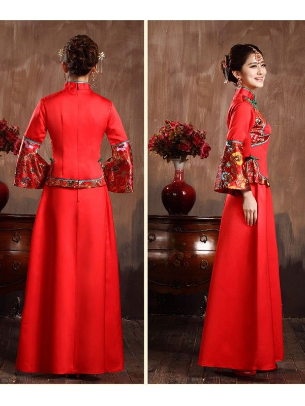 1e74e1d0480 traditional chinese clothing traditional chinese dress Chinese Traditional  Dresses Red Mandarin Collar Long Sleeves Chinese Style Bridal Wedding Gown  Hexiu ...