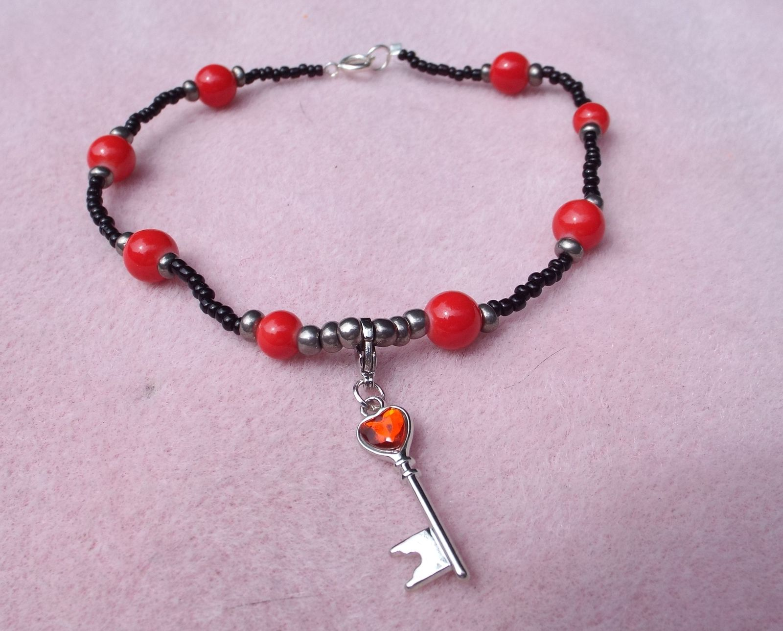 Ankle Bracelet or Anklet black, red & grey beads with key with red heart charm $18.00
