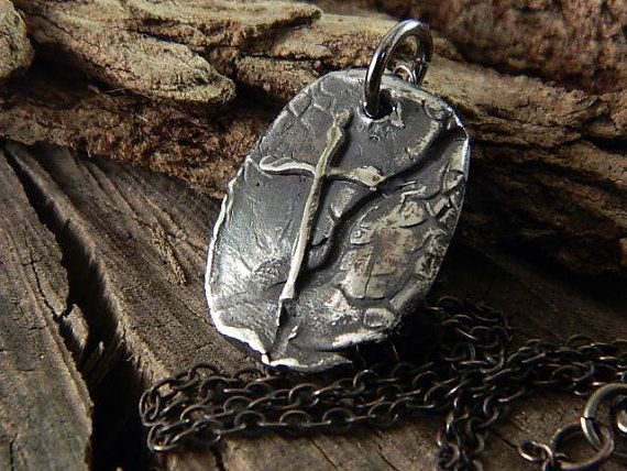 Rustic Gothic Cross Fine Silver Necklace Handmade Jewelry For Men or Women