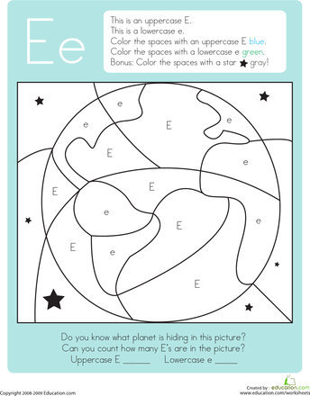Color by Letter: Capital and Lowercase E | Hidden pictures ...