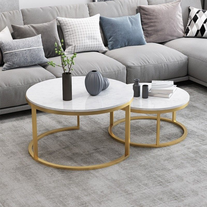 Nordic Style Coffee Table Gold Metal White Marble Living Room Accent Table With Round Top Set Of 2 In 2020 Living Room Accent Tables Coffee Table Living Room Coffee Table