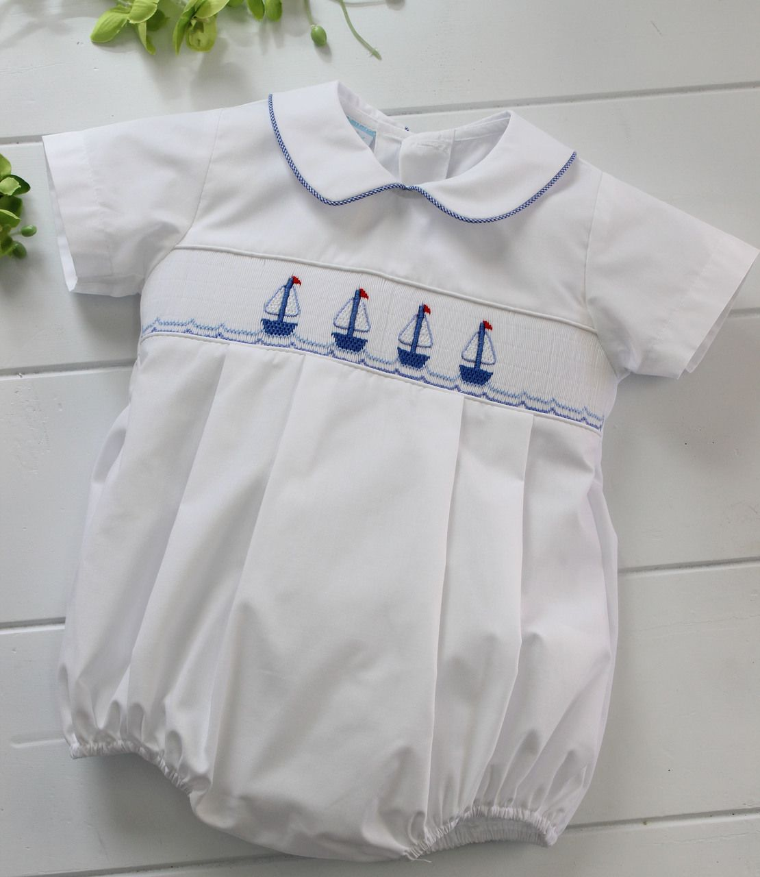 Photo of Baby Boys White Smocked Sailboats Bubble Outfit
