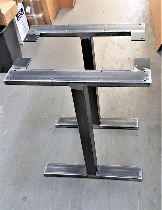 Custom Order T Style Table Legs With Brace Between The Legs Etsy Steel Table Legs Table Legs Metal Table Base