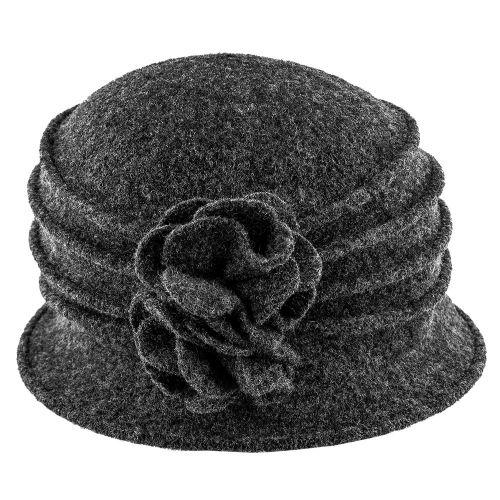 83fc426ea5f8b Charlotte - Scala LW497 Taupe Knit Wool Cloche Hat w  Side Flower