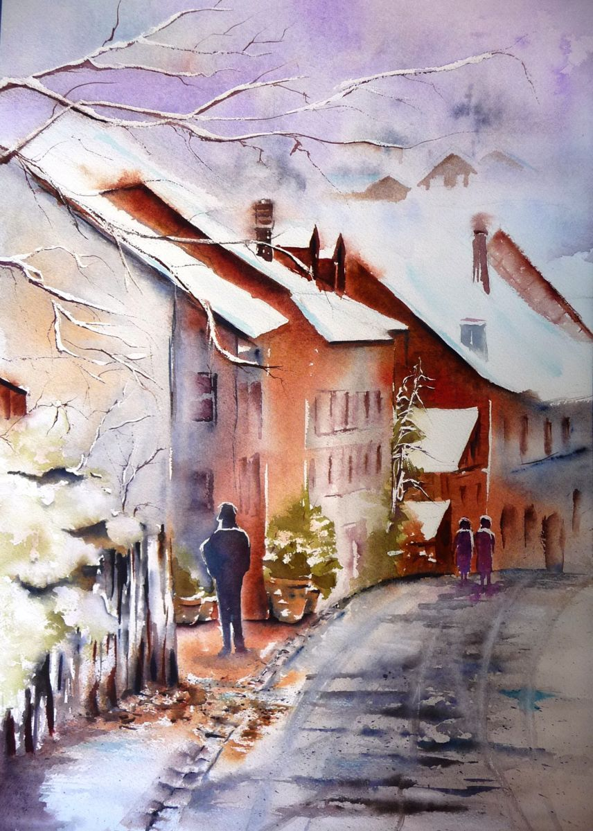 Original Painting Of French Village In Summer With Houses And