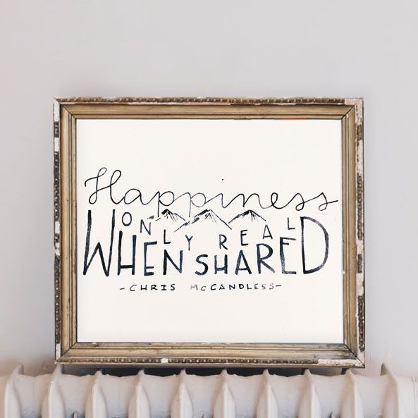 Happiness Only Real When Shared Love It Art Prints Quotes Wall