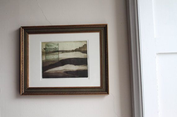 Landscape Etching Print with Farm Scene - FREE SHIPPING- Ready to Hang