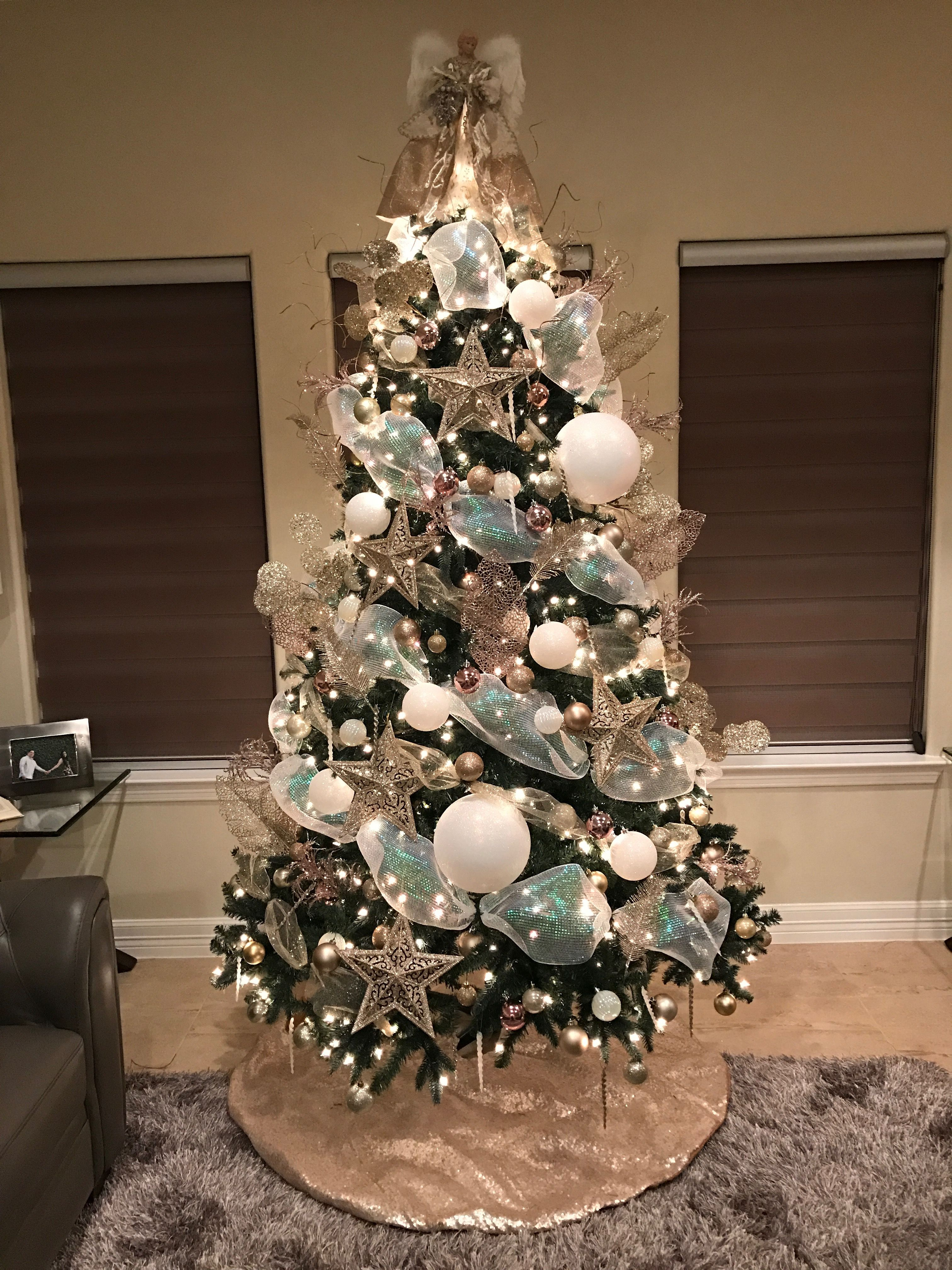 My Christmas Tree Decorated With Ribbon, Stars, Ornaments, Theme Colors