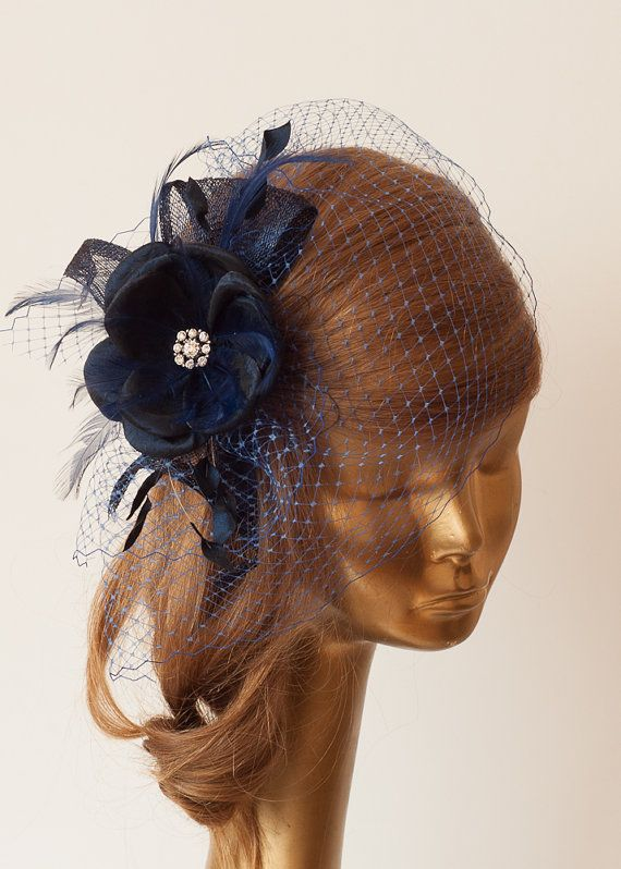 35e328daf556f Navy Blue Birdcage Veil with Flower and Rhinestone Brooch.Fascinator ...