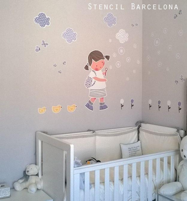 habitacion del bebé con vinilo de #stencilbarcelona