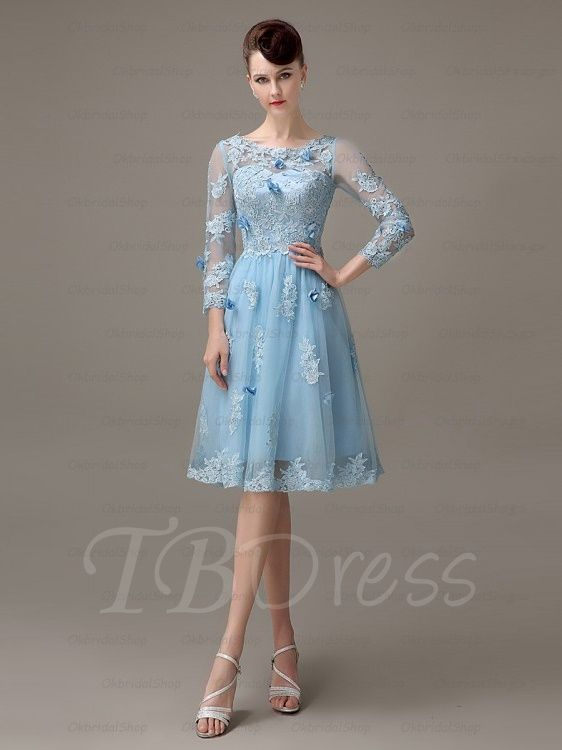 3/4 Length Sleeves A-Line Bateau Appliques Knee-Length Prom Dress | Prom