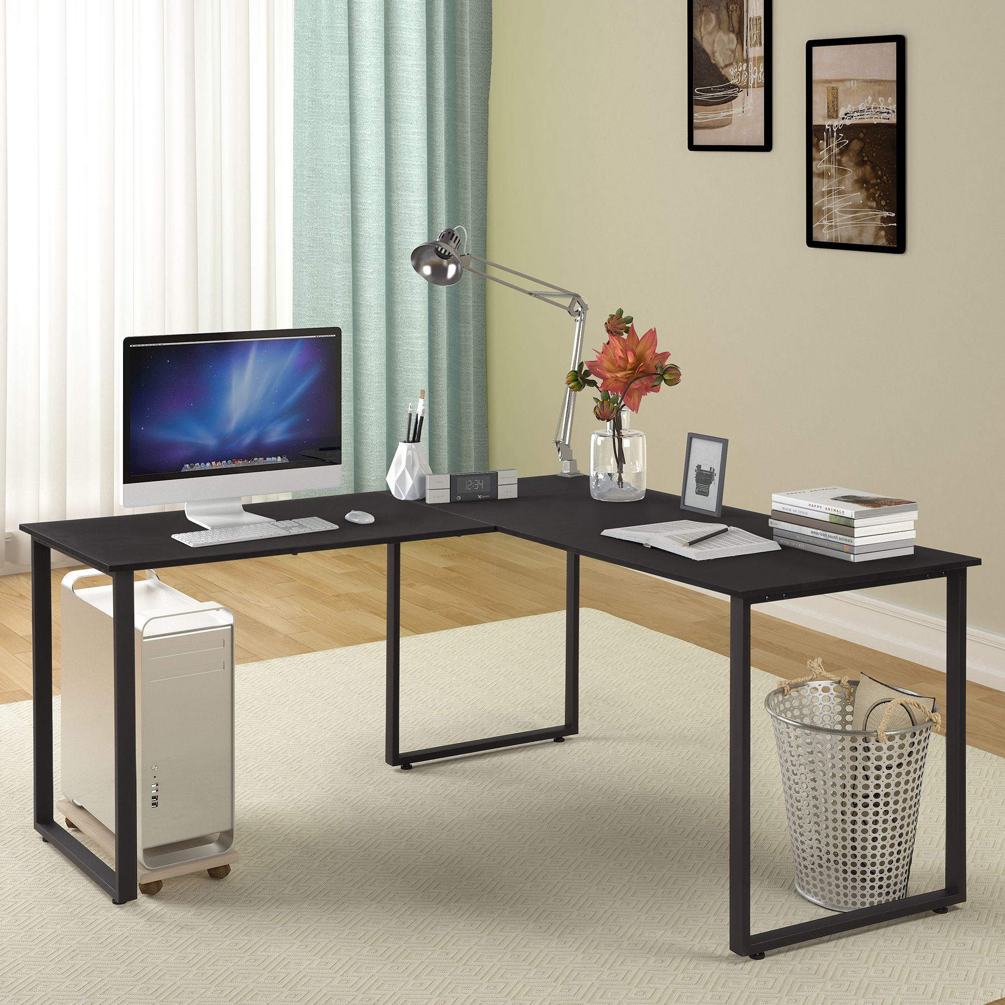 Merax 59 L Shaped Desk With Metal Legs Office Desk Corner Computer Desk Pc Laptop Table Workstation Ad Desk Ad Pc Desk Corner Computer Desk L Shaped Desk