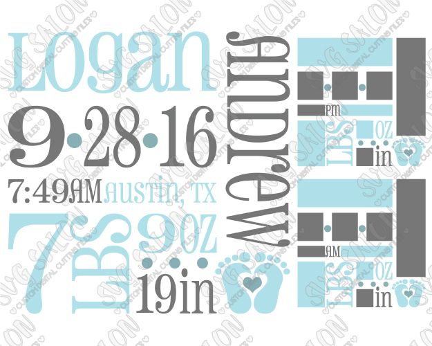 Baby Boy Birth Announcement Template SVG Cut File Set Cameo