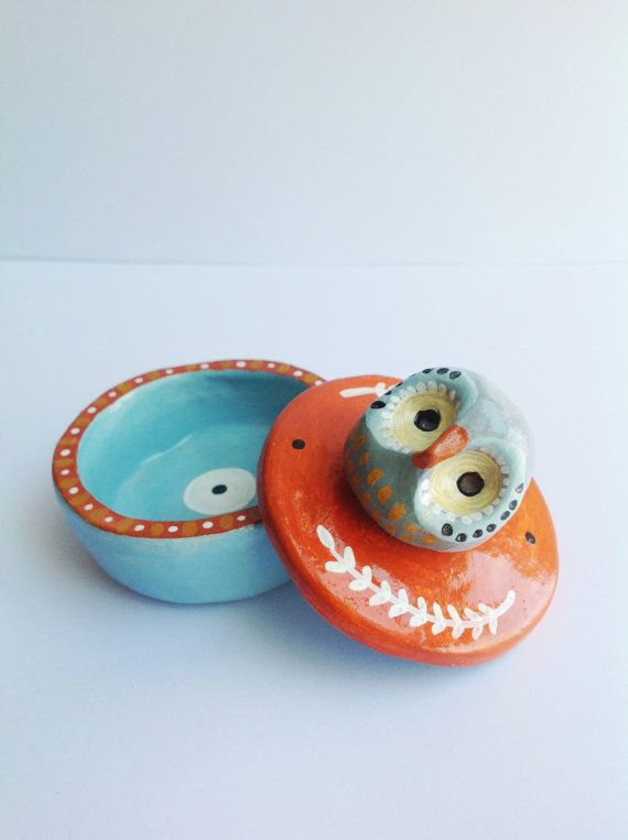 Mint/Orange Owl  Clay Container by isolander on Etsy, $20.00