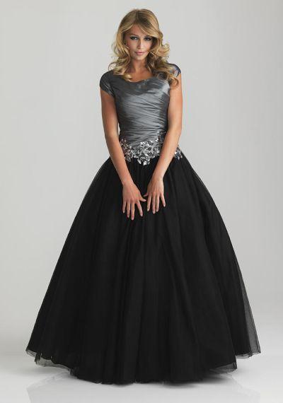 22c464700f7 Night Moves 6808M Modest Sequin Applique Formal Dress
