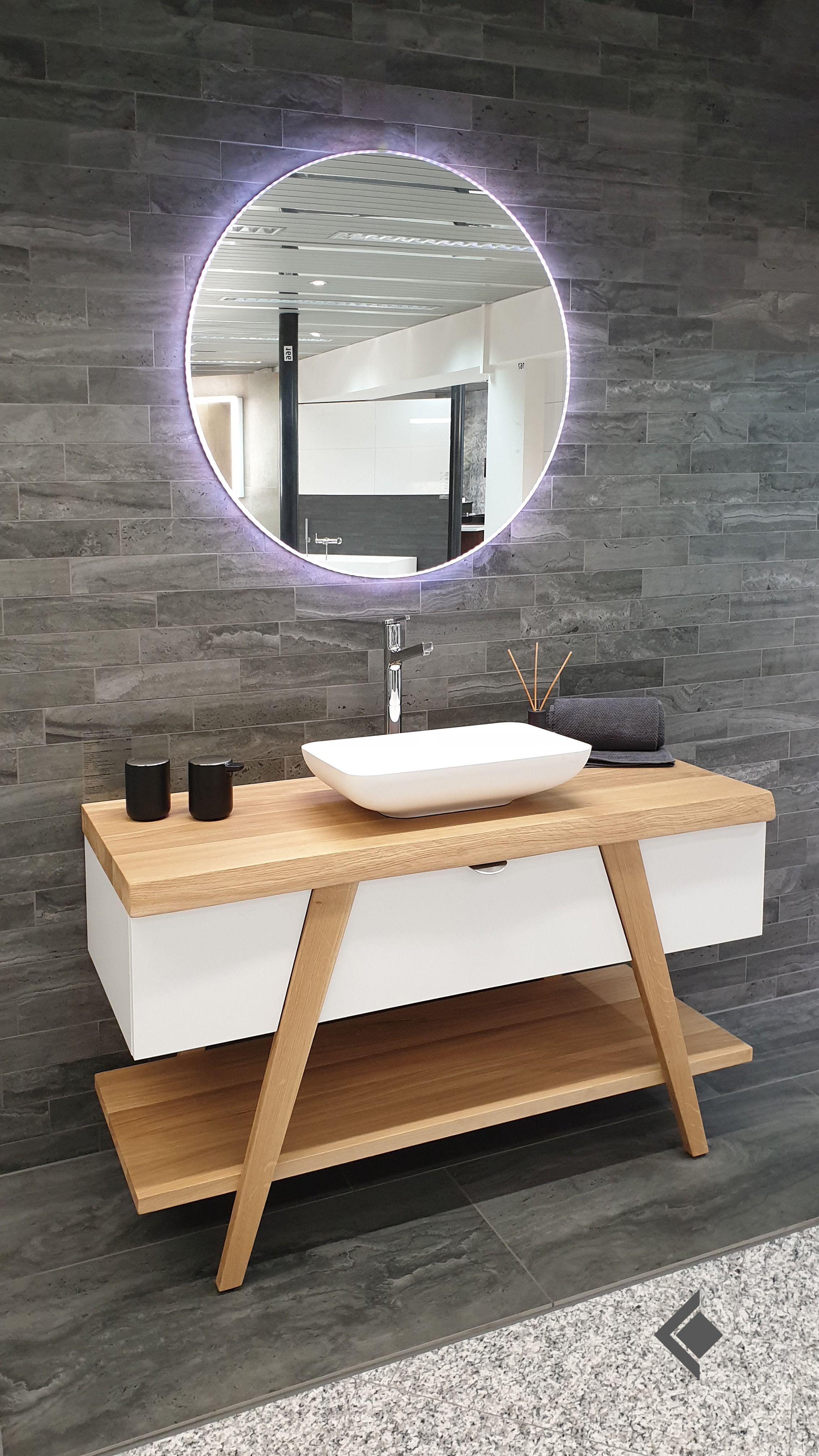 Waschtischmöbel Mit Holzabdeckung Und Auflagebecken Aus
