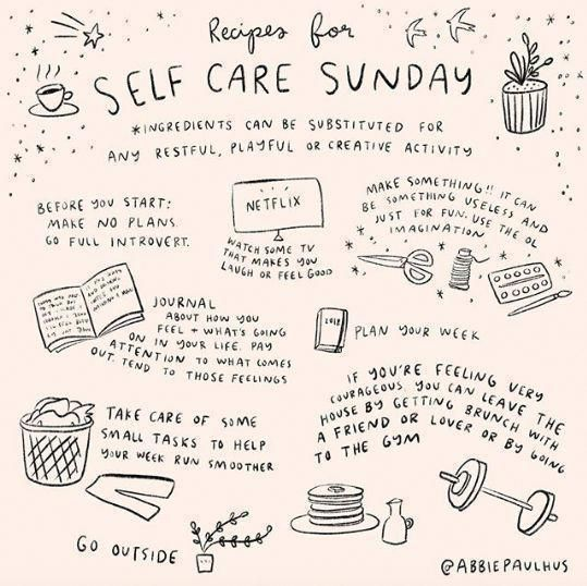 Self Care Sunday Art Print 8x8 - self love illustr