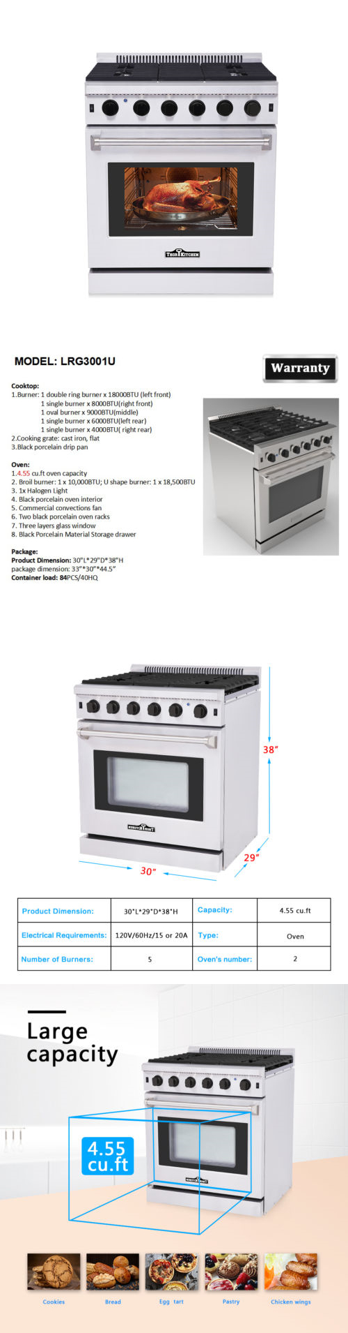 major appliances thor kitchen lrg3001u 30 stainless steel gas range oven with 5 burner