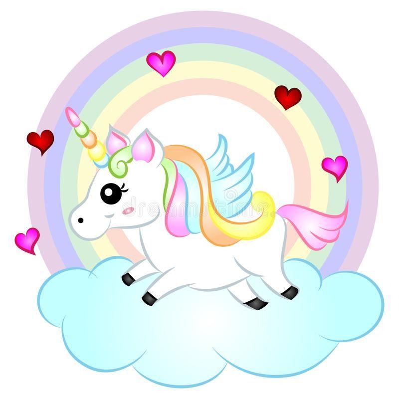 Cute Cartoon Vector Unicorn With Rainbow Cute Cartoon Vector