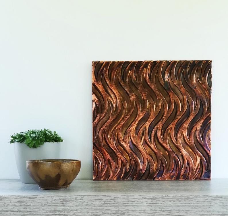 Modern Copper Decor Copper Geometric Waves Metal Wall Art Art Deco Home Decor Ready To Hang Art