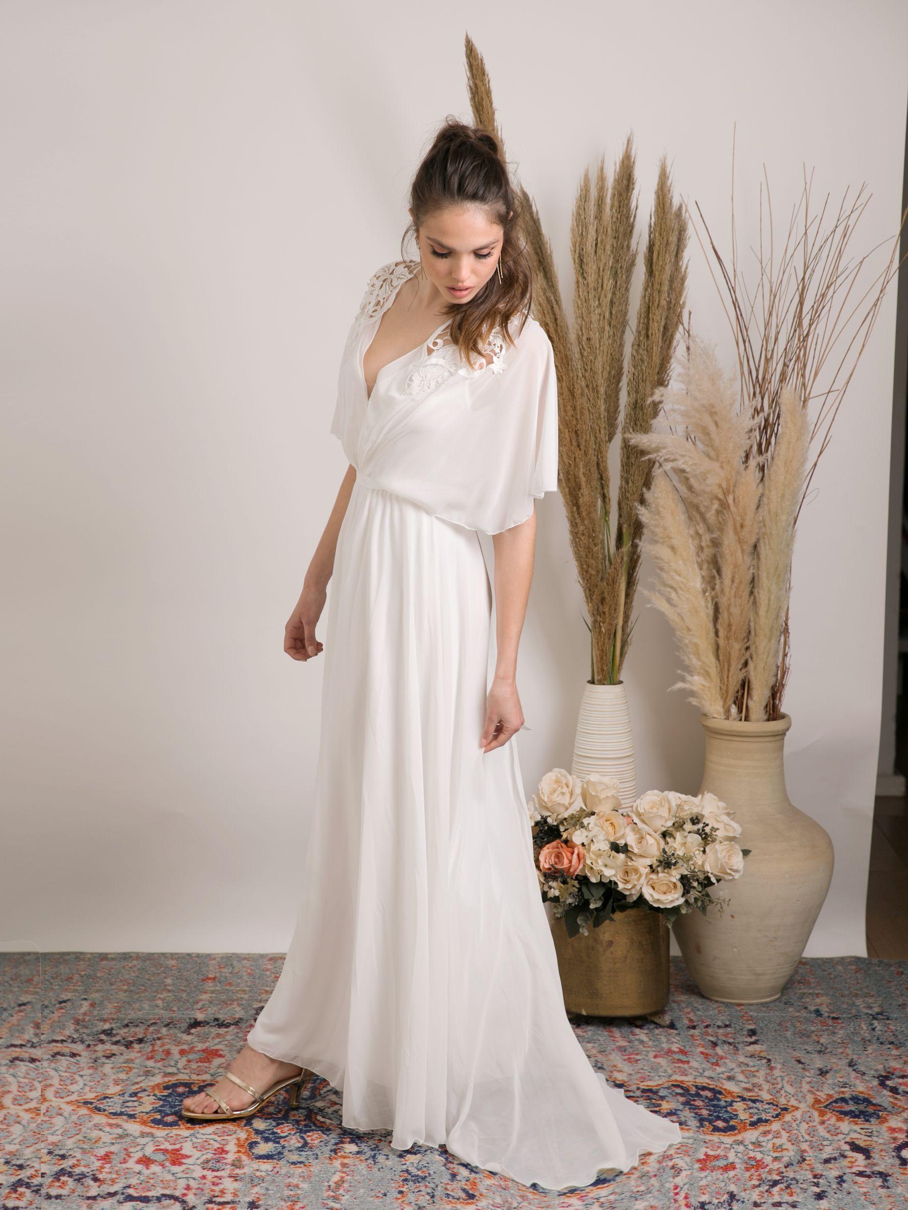 Simple Boho Wedding Dress Modest And Effortlessly Beautiful Etsy Boho Wedding Dress Wedding Dress Long Sleeve Wedding Dresses [ 2398 x 1800 Pixel ]