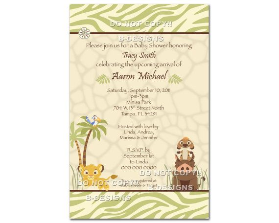 Baby Lion King Baby Shower Invitation Thank You Card and Book