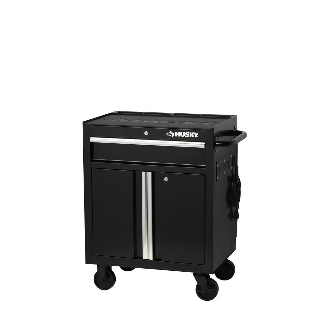 Husky 27 In W 1 Drawer 2 Door Tool Chest Rolling Cabinet In Gloss Black With Flip Up Pegboard H27pc1 The Home Depot Tool Chest Tool Storage Mobile Workbench
