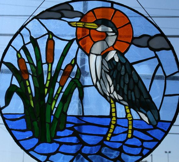 30% OFF Heron and Cattails 15 Stained Glass Mosaic by cchanart
