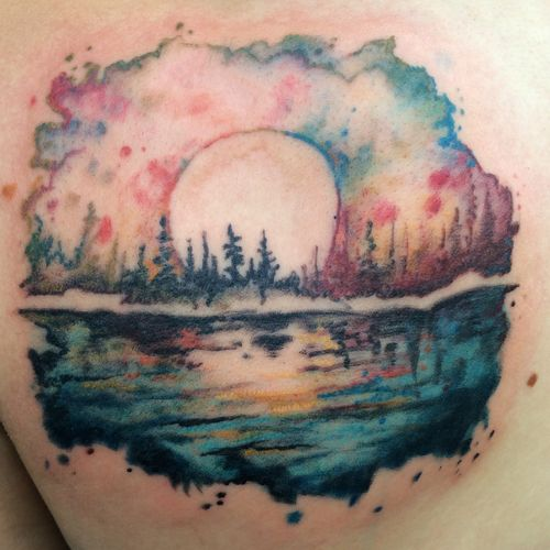 Watercolor Lake Jpg Watercolor Tattoo Time Tattoos Tattoos