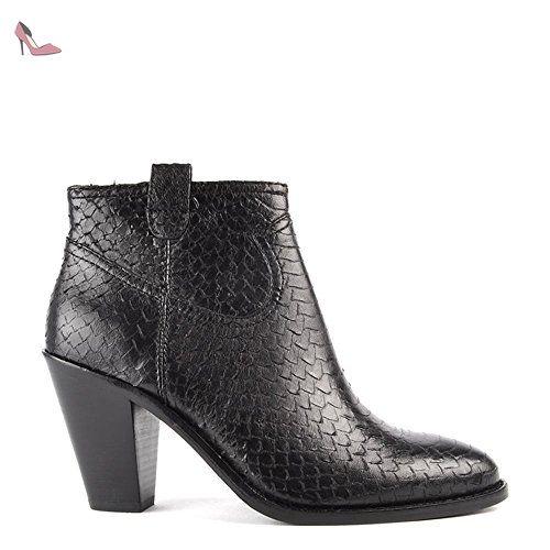 Noir Cuir Ivana En Eu Boots Chaussures Femme 39 Talon Ash A p5n6vAxY