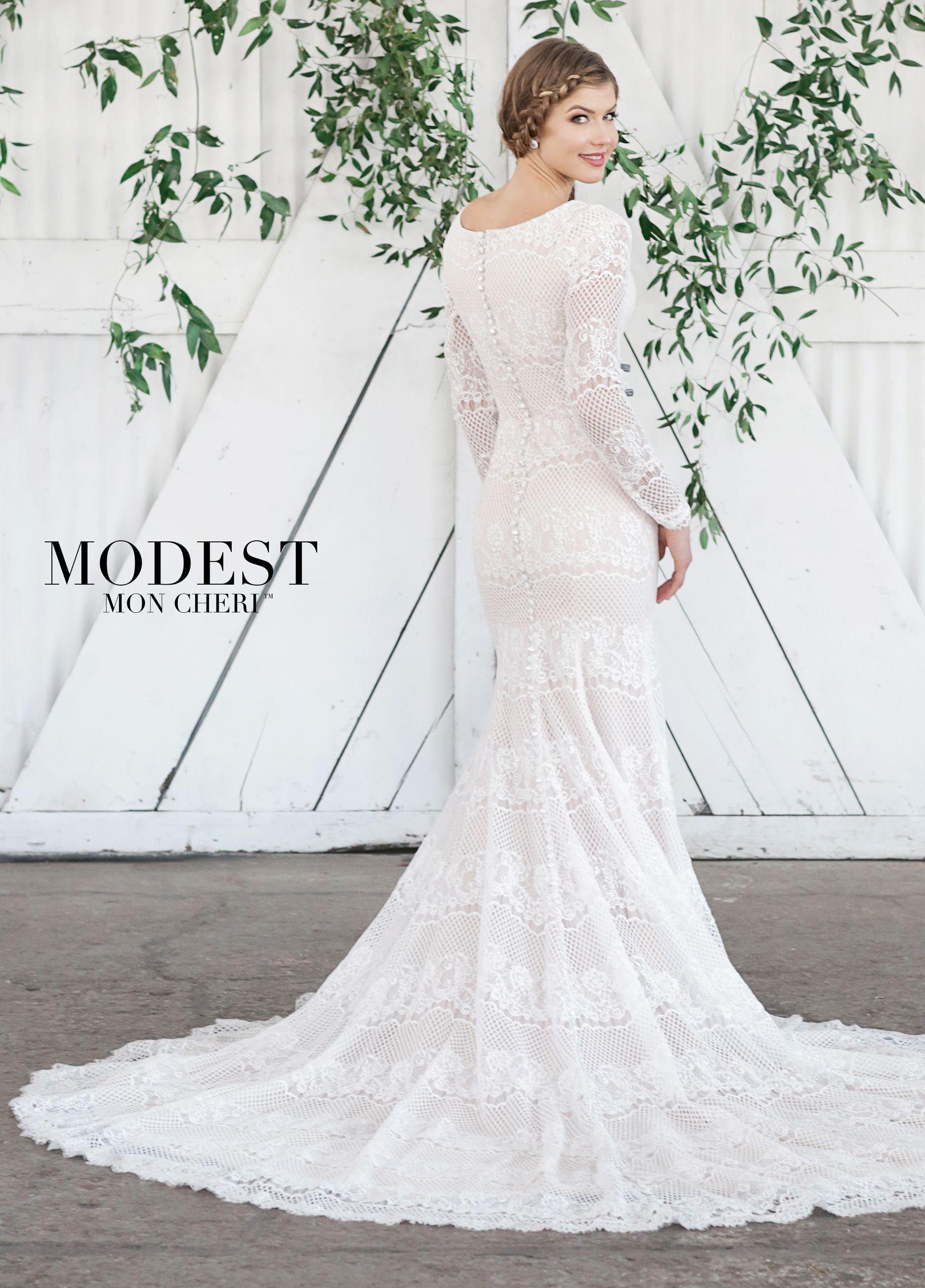 Modest all lace fit u flare wedding gown with lace illusion long