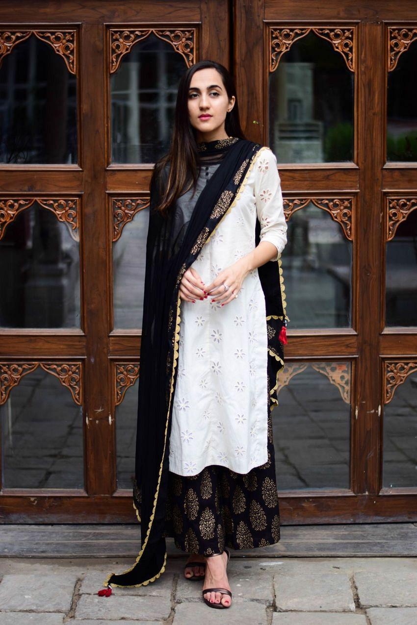 07c61ed20e White Black Combination Ethnic Kurta Set - #cutwork kurta in white paired  with black pants
