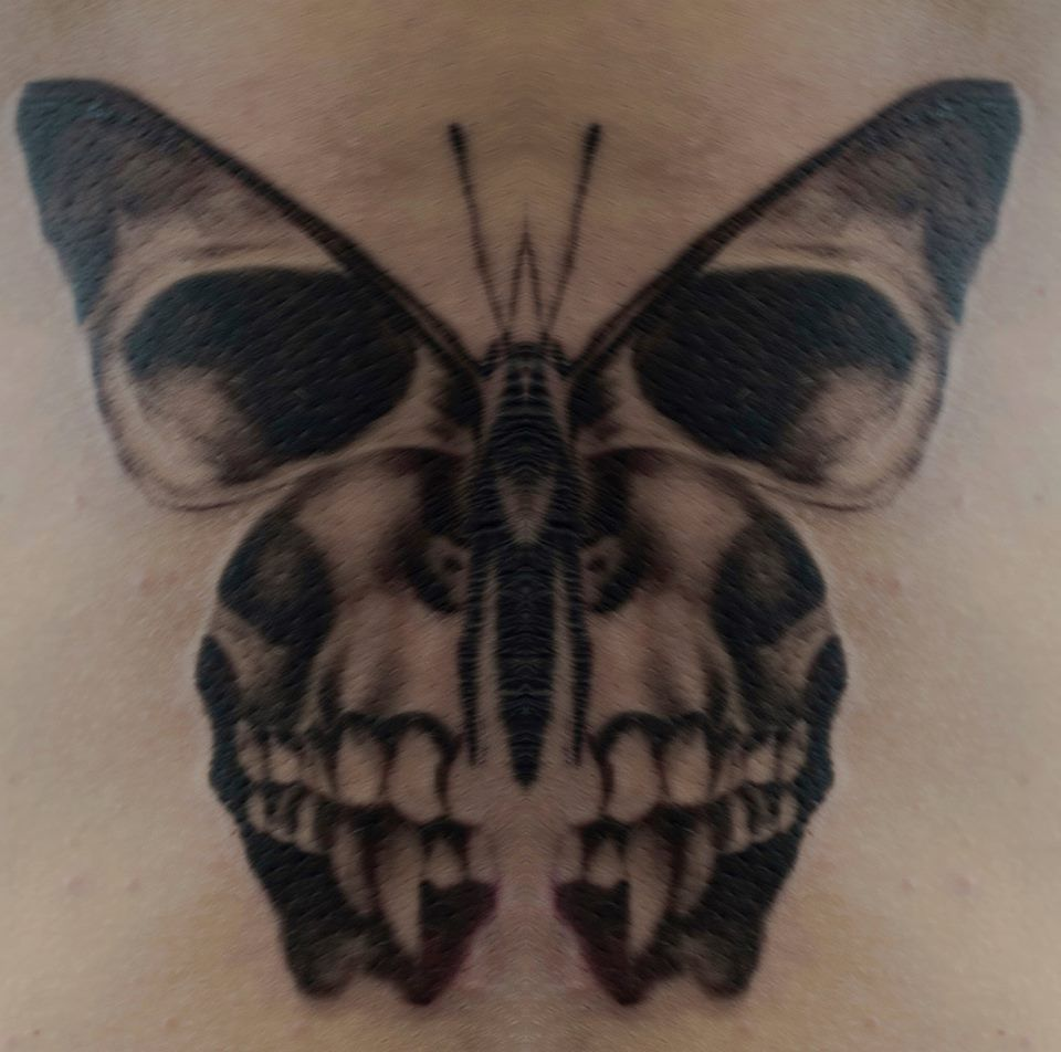 Death moth skull tattoo. #skullinmoth #blackandgrey #silenceofthelambs #horrortattoo #filmtattoo