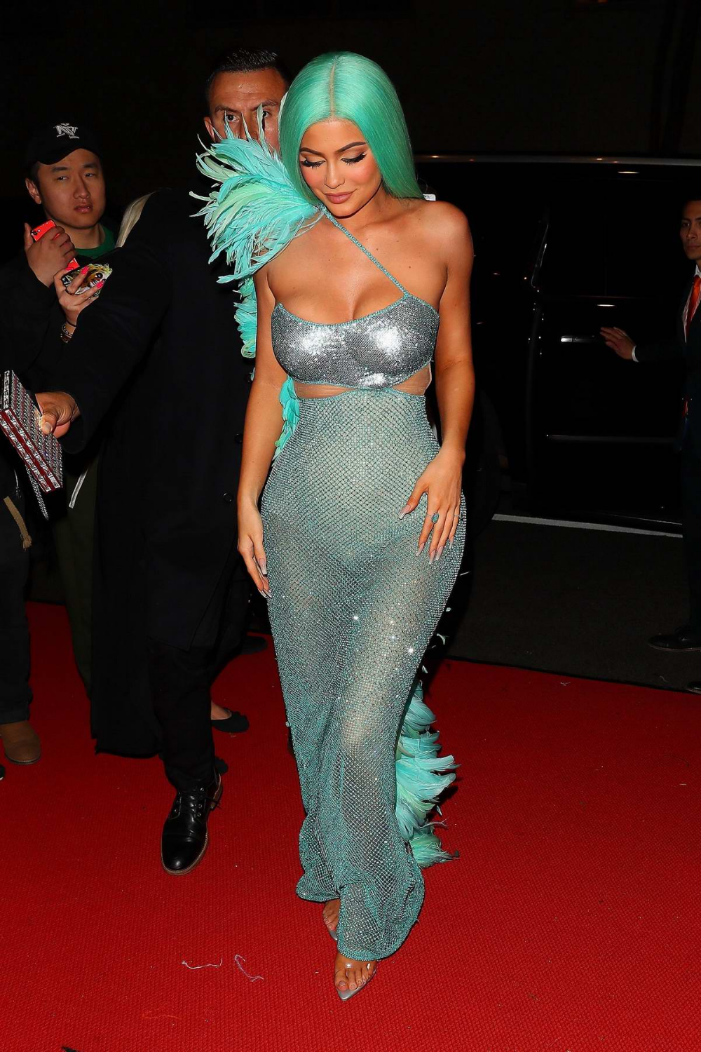 Kylie Jenner Dazzles In Semi Sheer Turquoise Dress With Matching Hair At The 2019 Met Gala After Party In New Yo In 2020 Met Gala Dresses Event Dresses Turquoise Dress