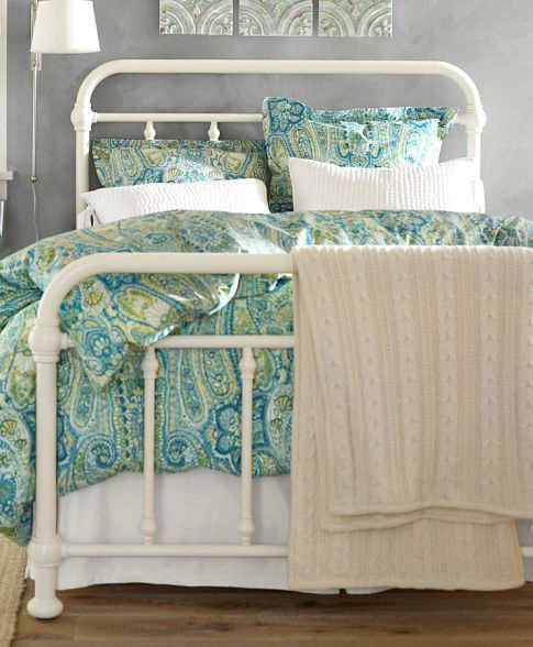 Coleman Metal Bed King White Finish Pottery Barn Beds