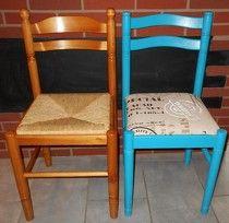 Pour relooker des chaises en bois rien de tel qu 39 un peu d 39 huile de coude et le tour est jou - Relooker des chaises en paille ...