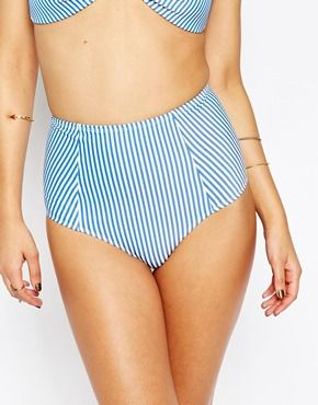 f2d17edd5d ASOS Mix and Match Seersucker Stripe High Waist Bikini Bottom | Swim ...
